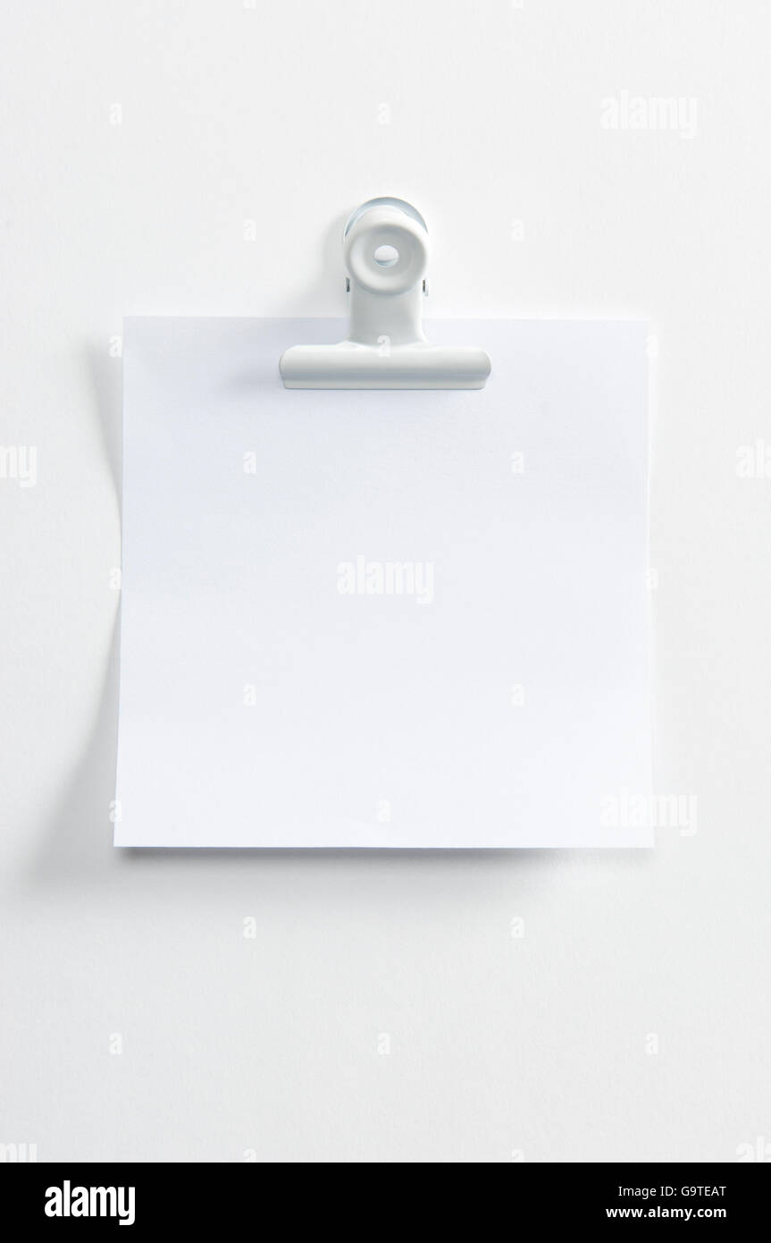 Blank post hanging on the wall with a forceps - Stock Image