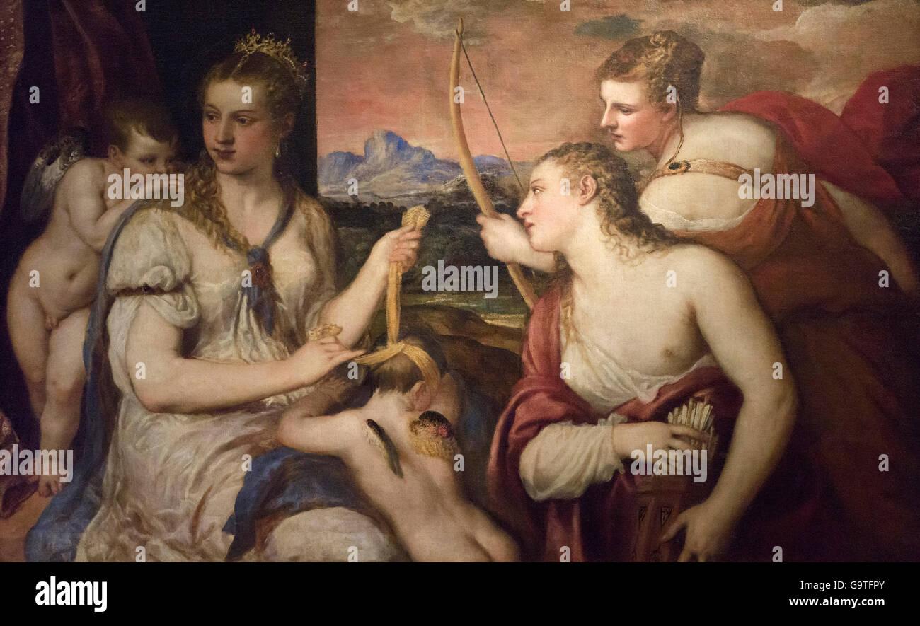 Titian - Tiziano Vecellio (ca. 1488/90-1576), Venus Blindfolding Cupid, ca. 1565. Stock Photo