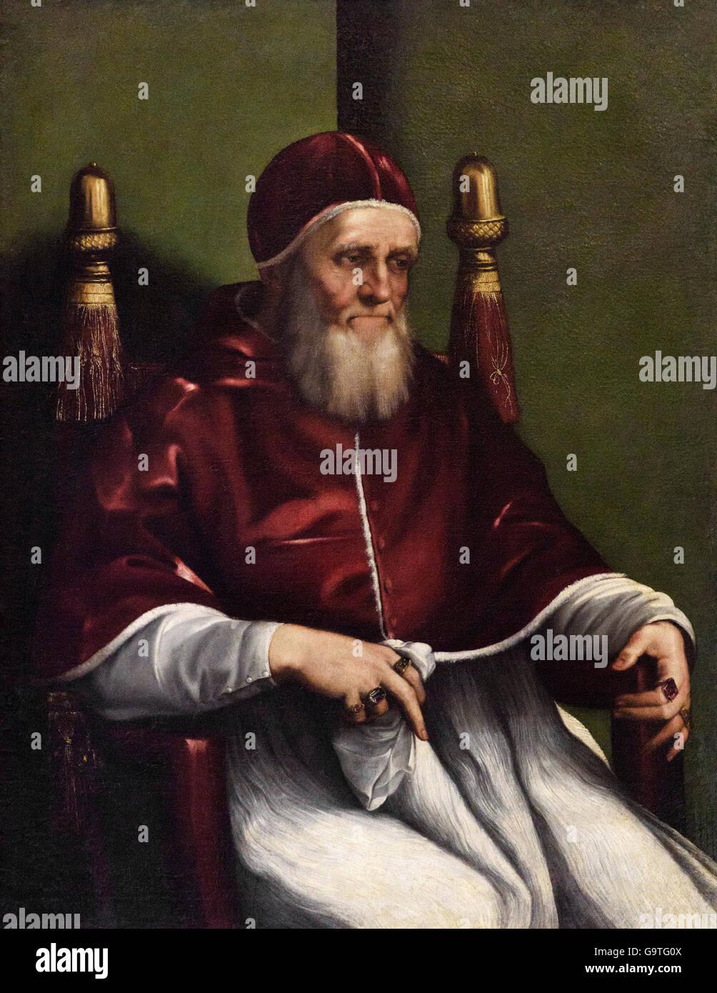 Copy after Raphael, Portrait of Pope Julius II (1443–1513), end 16th C. - Stock Image