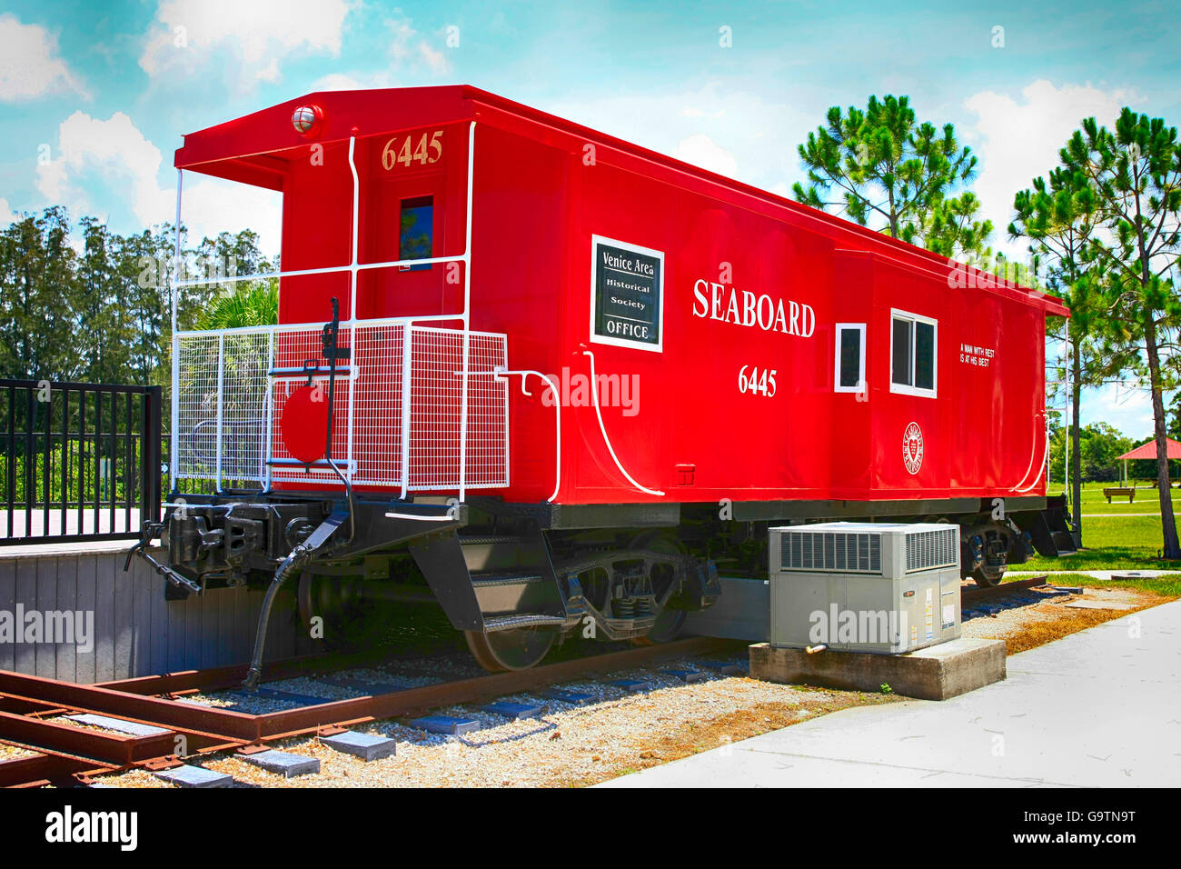 Red Seaboard Railway freight car at the Legacy Trail Train Depot in Venice FL - Stock Image