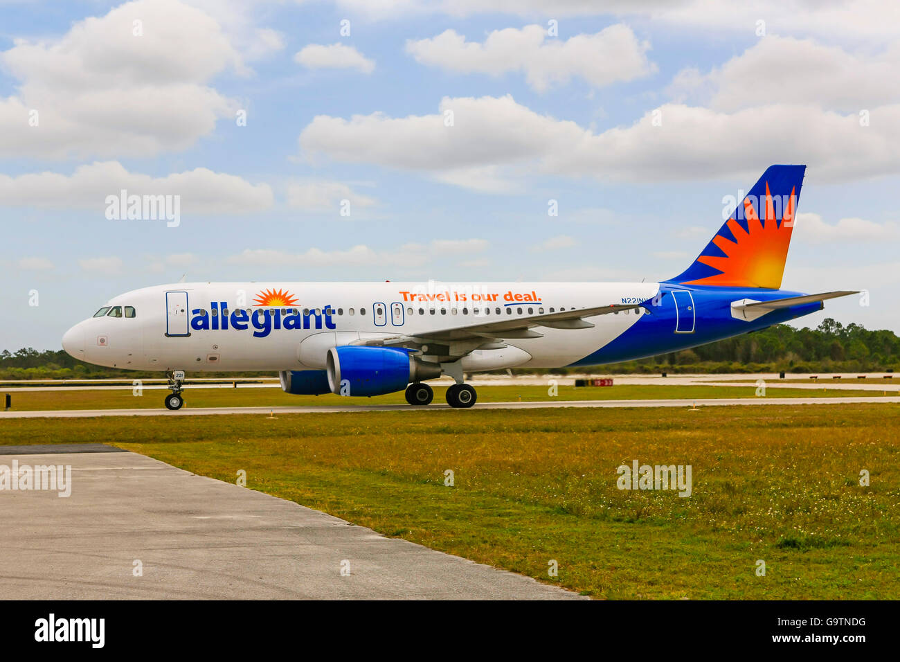 Allegiant Airbus A320-214 at Punta Gorda airport in Florida - Stock Image