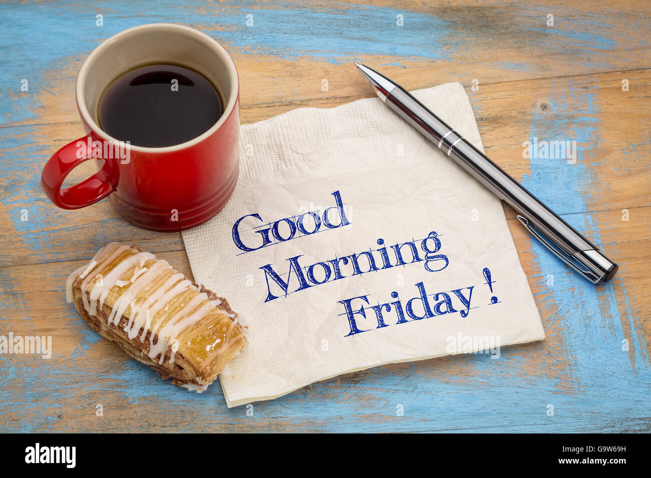 Good Morning Friday Handwriting On A Napkin With A Cup Of Coffee