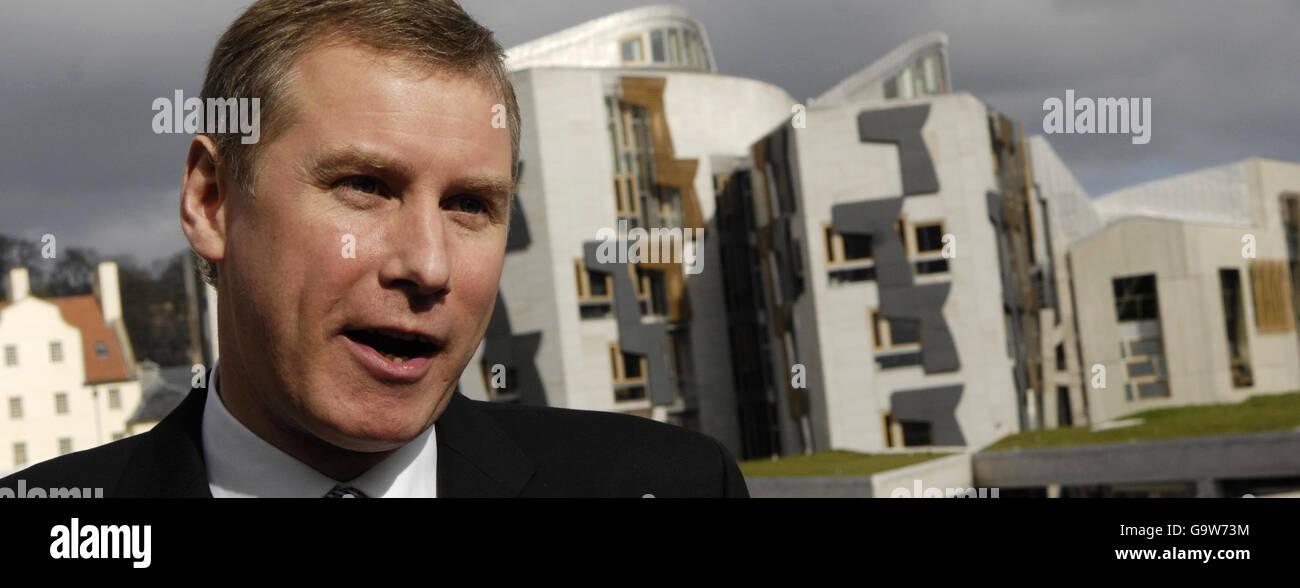 Nicol Stephen launches Scottish Liberal Democrat manifesto - Stock Image