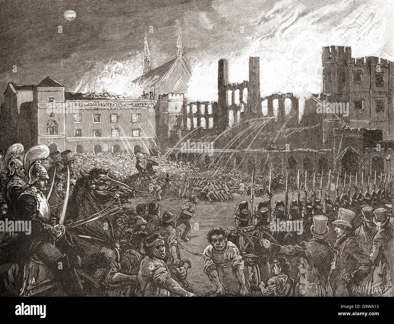 The British Houses of Parliament, London, England destroyed by fire on 16 October 1834. - Stock Image