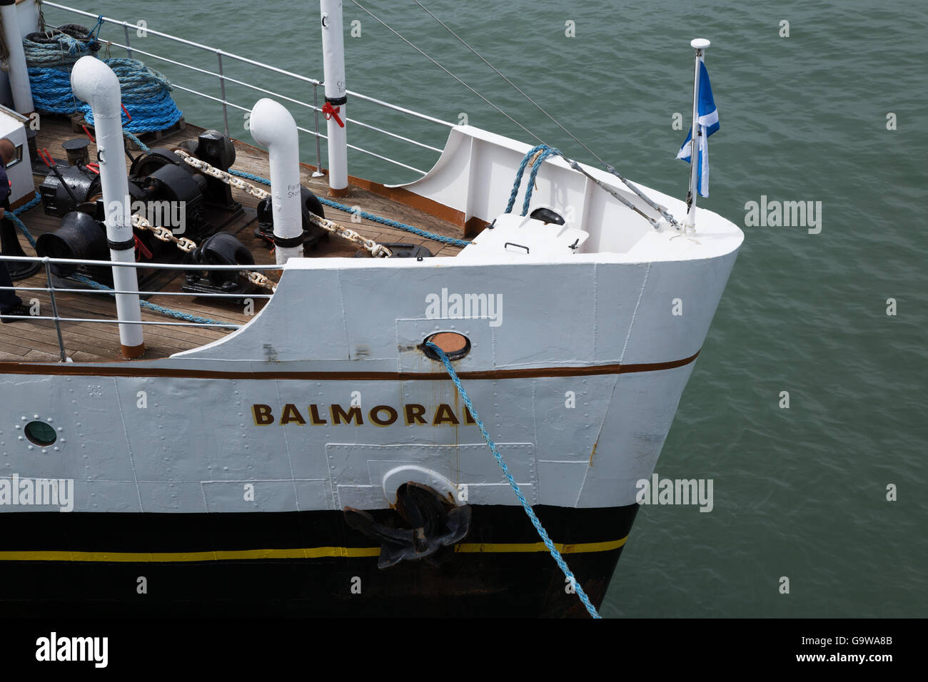 The Bow of MV Balmoral at Southend-on-Sea Stock Photo