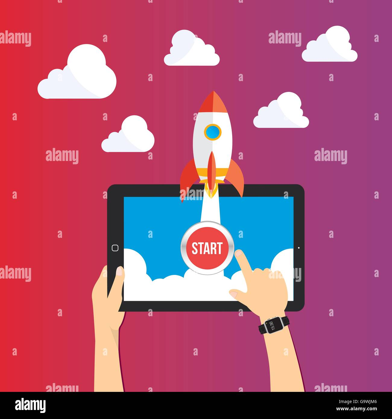 start up launch concept illustration - Stock Image