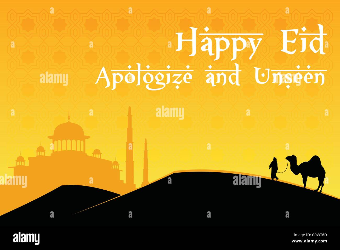 Happy Eid Mubarak Islamic Greetings With Mosque Background Stock