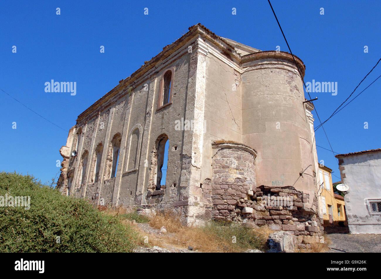 Ruin of Panaya church, Ayvalik, Cunda, Balikesir, Turkey, Asia / Ayvalik - Stock Image
