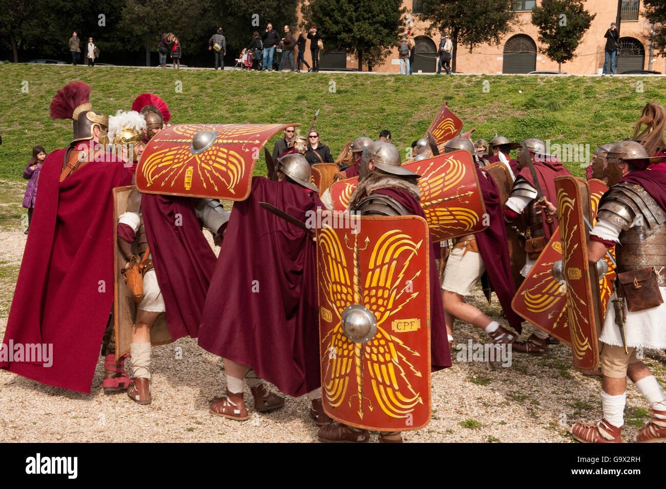 Traditional Roman Soldiers, Circus Maximus, Rome, Italy, Europe / Rome - Stock Image