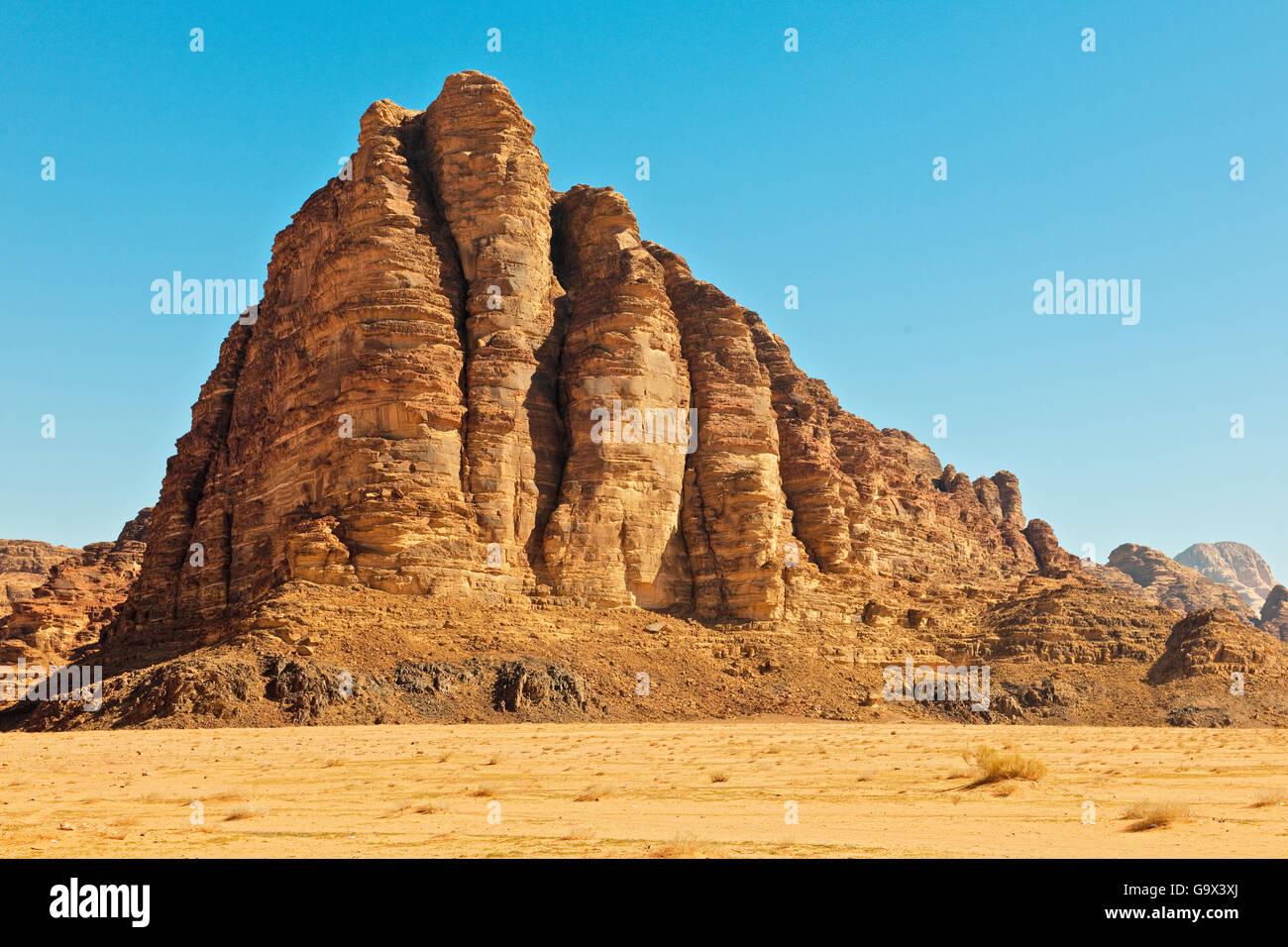 Seven Pillars of Wisdom, Wadi Rum, Jordan, Asia minor Stock Photo