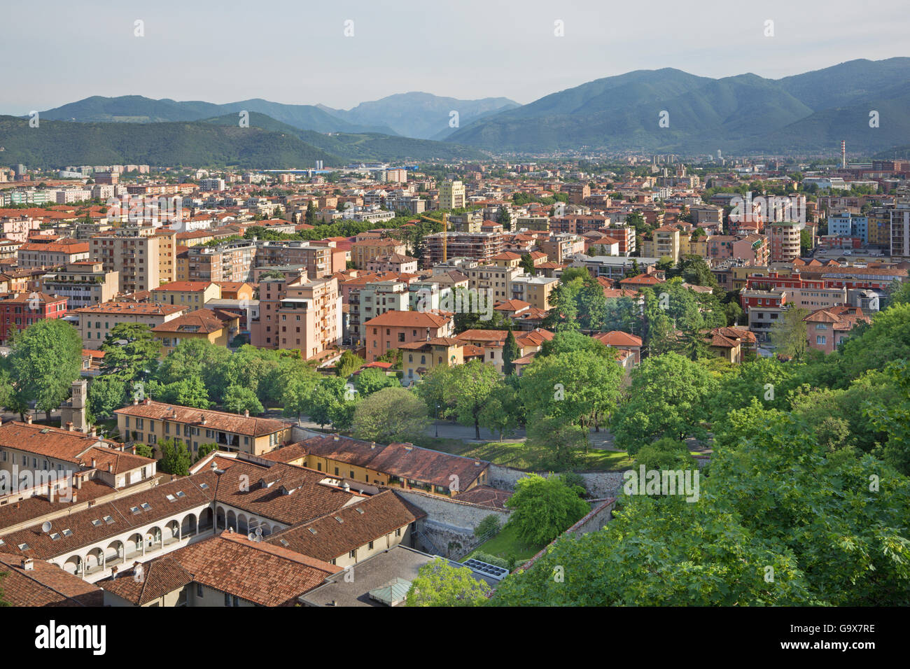 Brescia - The outlook over the Town from castle. - Stock Image