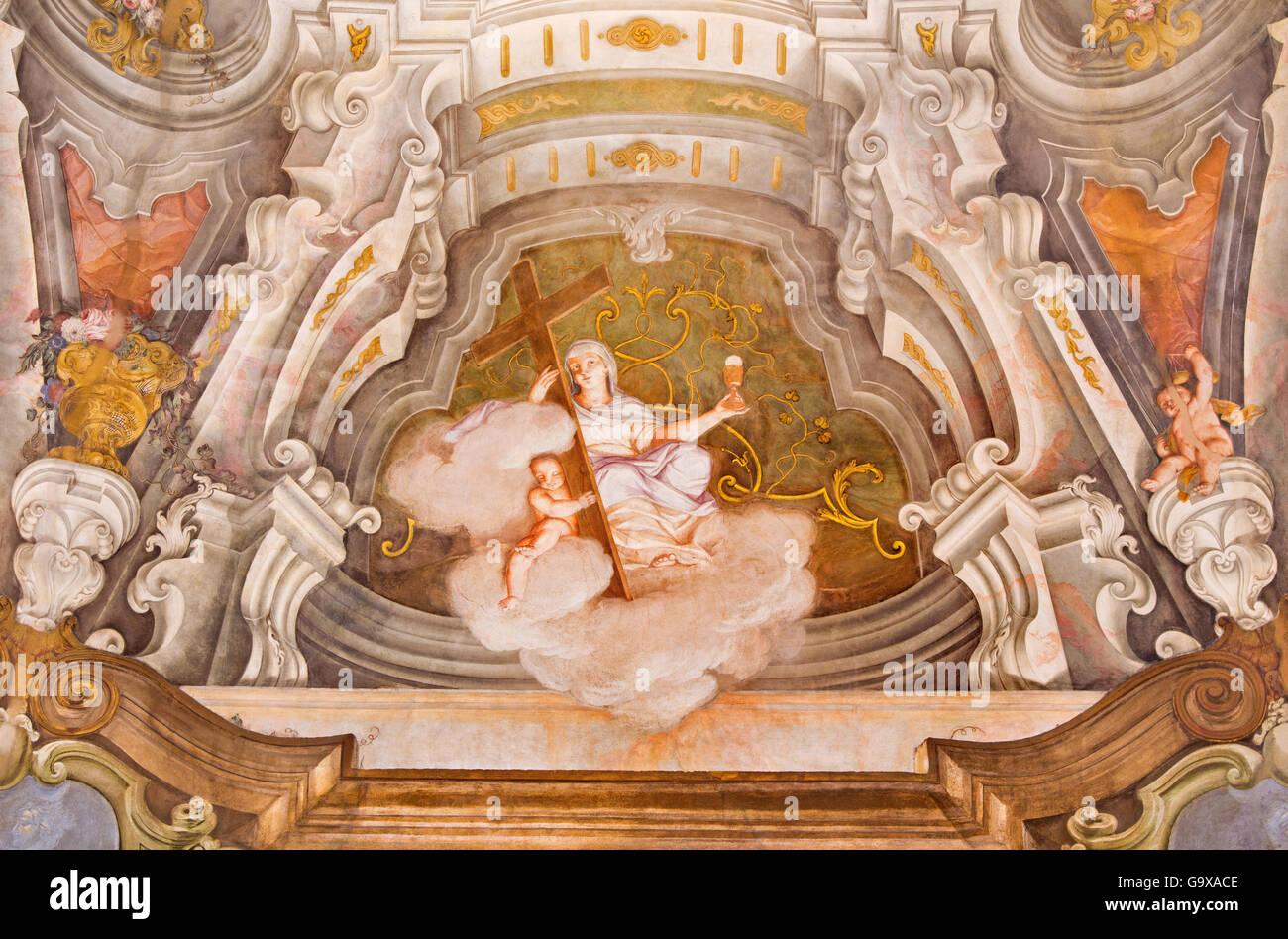 BRESCIA, ITALY: Fresco of cardinal virtue of Faith in Chiesa di Santa Maria della Carita by Ferdinando Cairo and - Stock Image