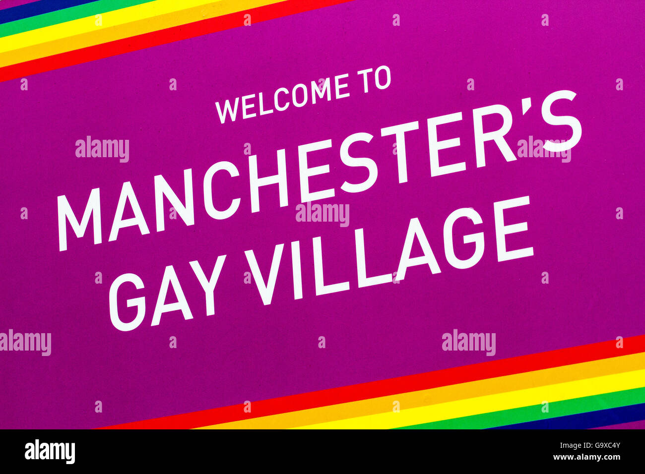 Welcome sign to Manchesters famous gay village on Canal street, Manchester, UK - Stock Image