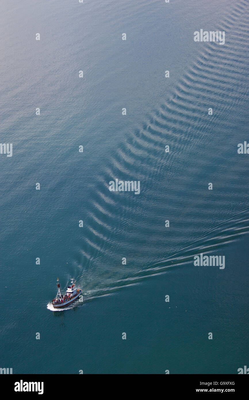 Aerial of whale-watching boat, Skjafandi Bay, Iceland, June 2009. - Stock Image