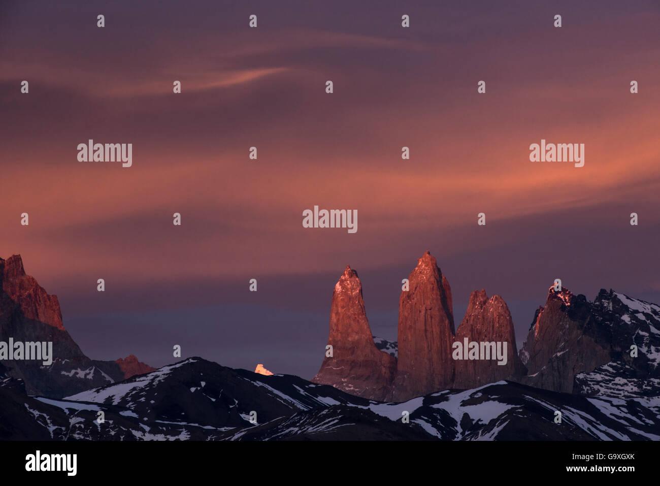 Three granite peaks of Paine mountain range, Torres del Paine National Park, Patagonia, Chile. - Stock Image