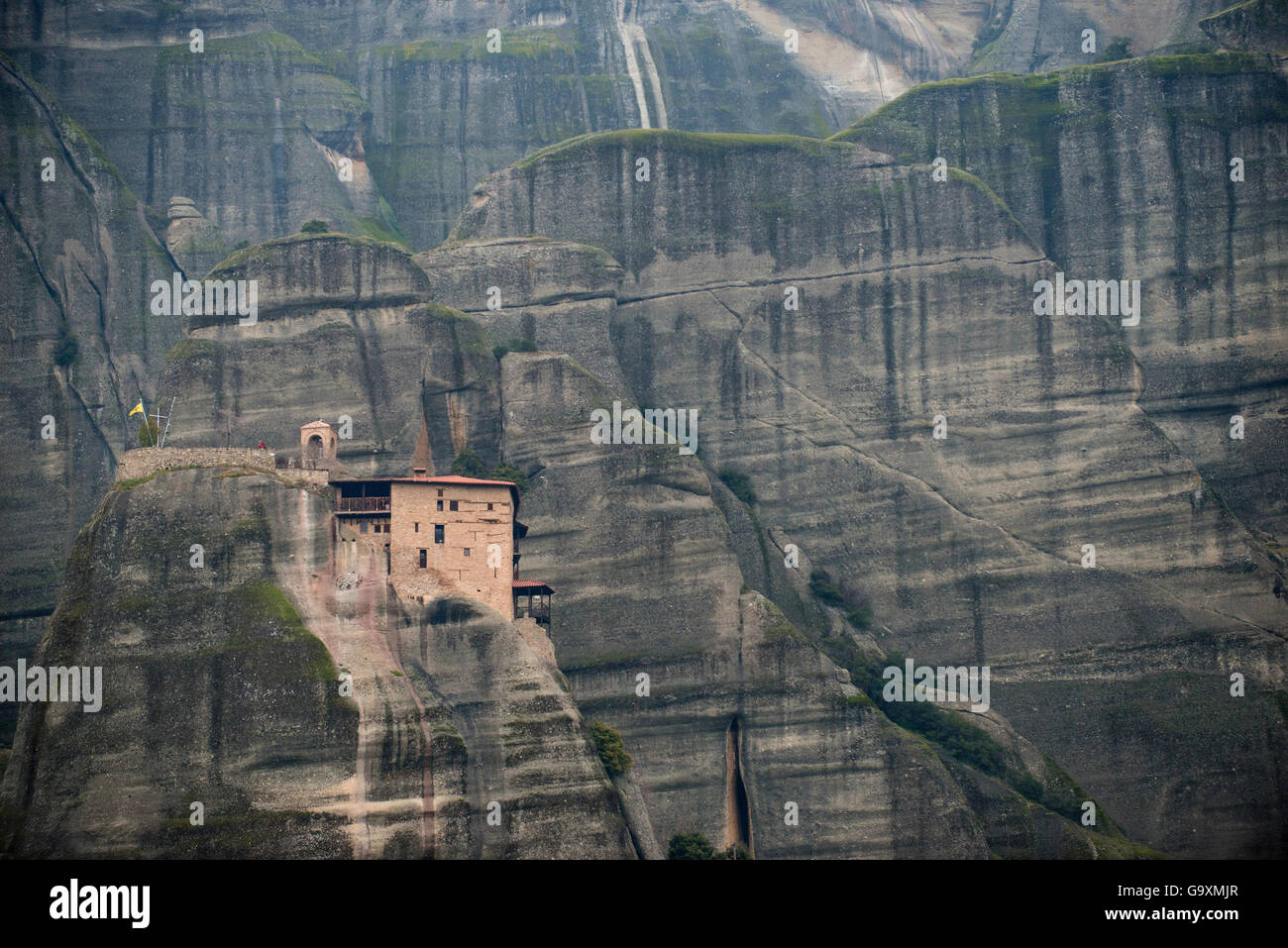 The Holy Monastery of St. Nicholas Anapausas, built in the 16th century. Meteora, Kalambaka, Thessaly Region, Greece, - Stock Image