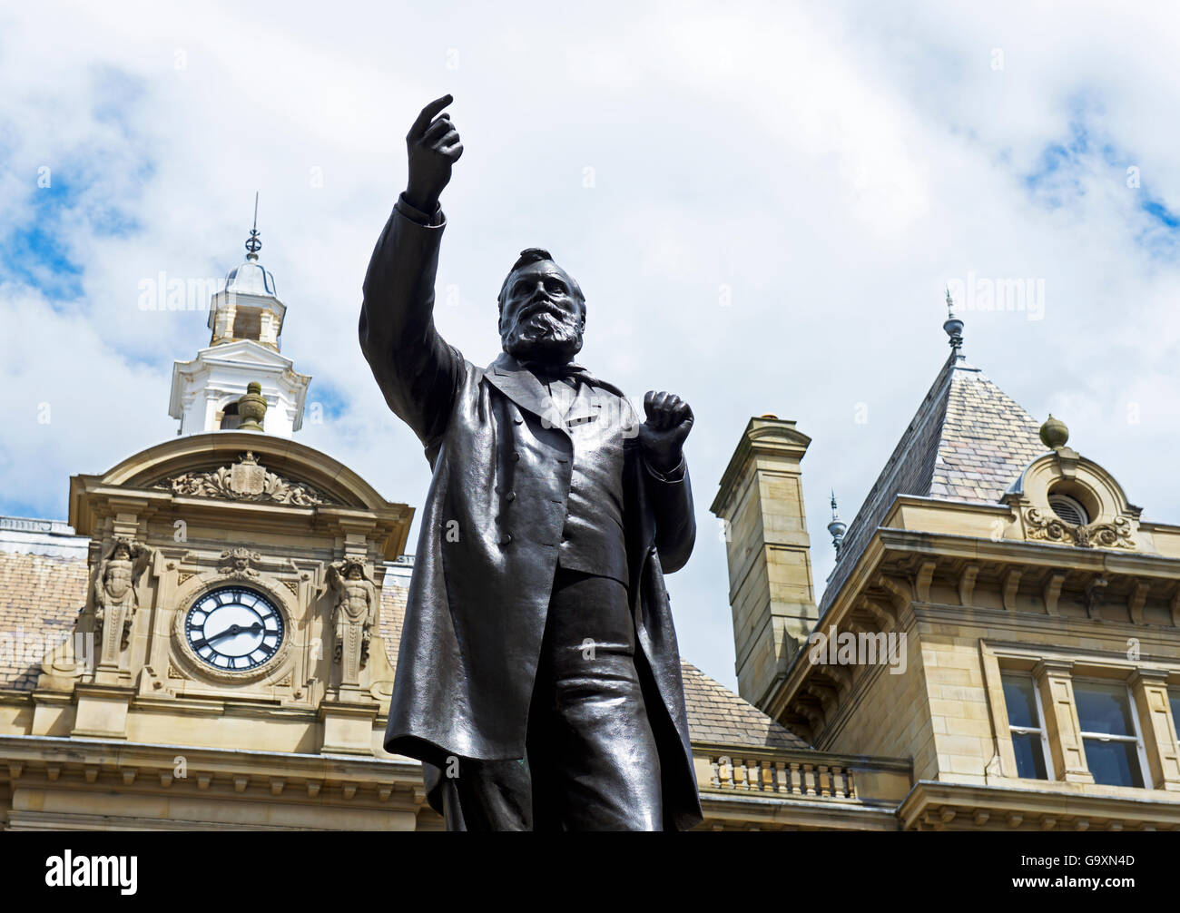 Statue of W E Forster, Bradford, West Yorkshire, England UK - Stock Image