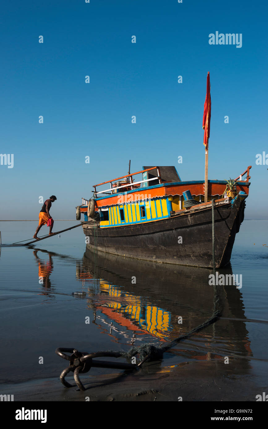 Ferry on Brahmaputra River, Assam, North East India, October 2014. - Stock Image