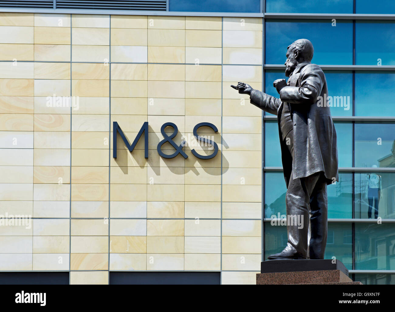Statue of W E Forster, next to Marks & Spencer store in the Broadway Shopping Centre, Bradford, West Yorkshire, - Stock Image