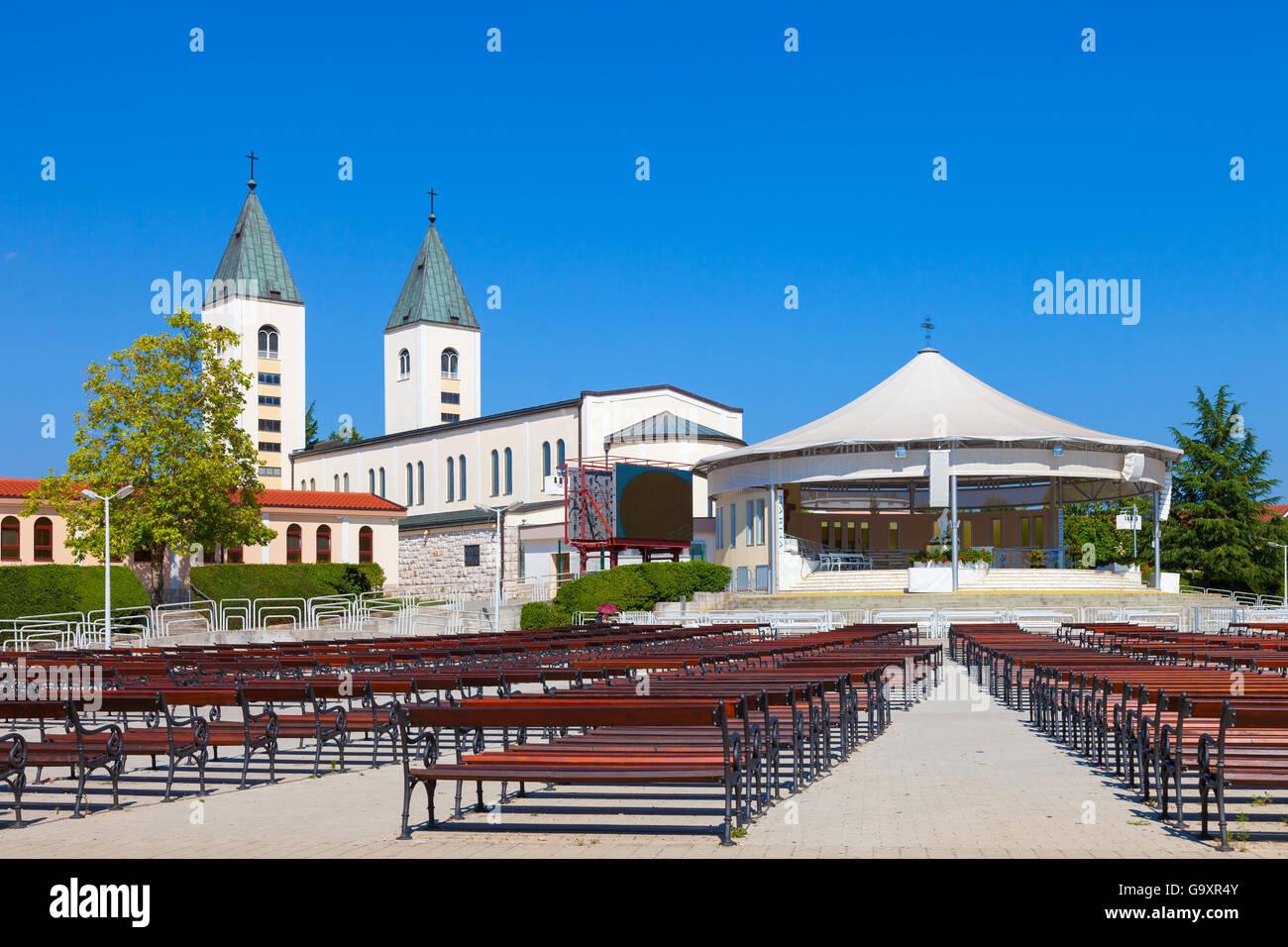 Saint James church of Medjugorje in Bosnia Herzegovina. - Stock Image