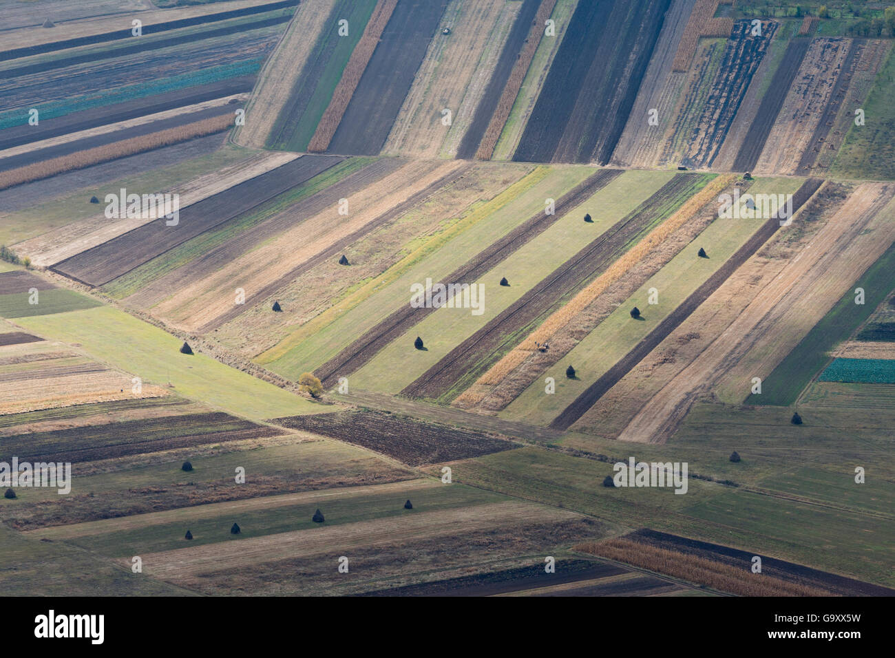 Patterns of agricultural plots viewed from Piatra Secuiului, Alba, Romania, October 2014. - Stock Image