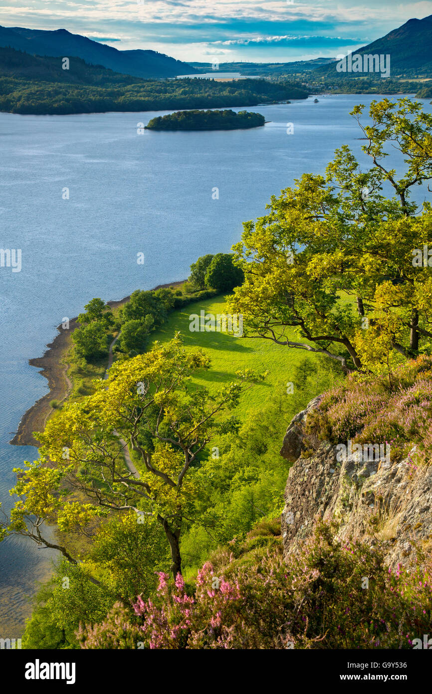View over Derwentwater from Suprise View, the Lake District, Cumbria, England - Stock Image