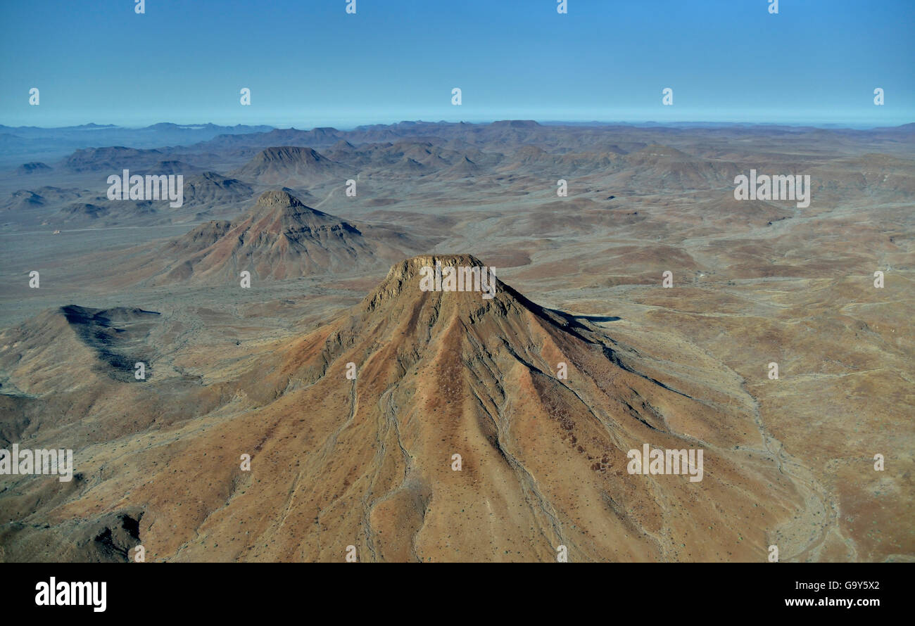 Aerial Photography, Etendeka Mountains near Twyfelfontein, Damaraland, Namibia - Stock Image