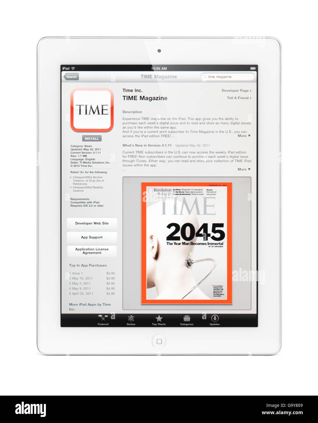 Apple iPad 2 tablet computer with Time magazine application at app store on its display Stock Photo