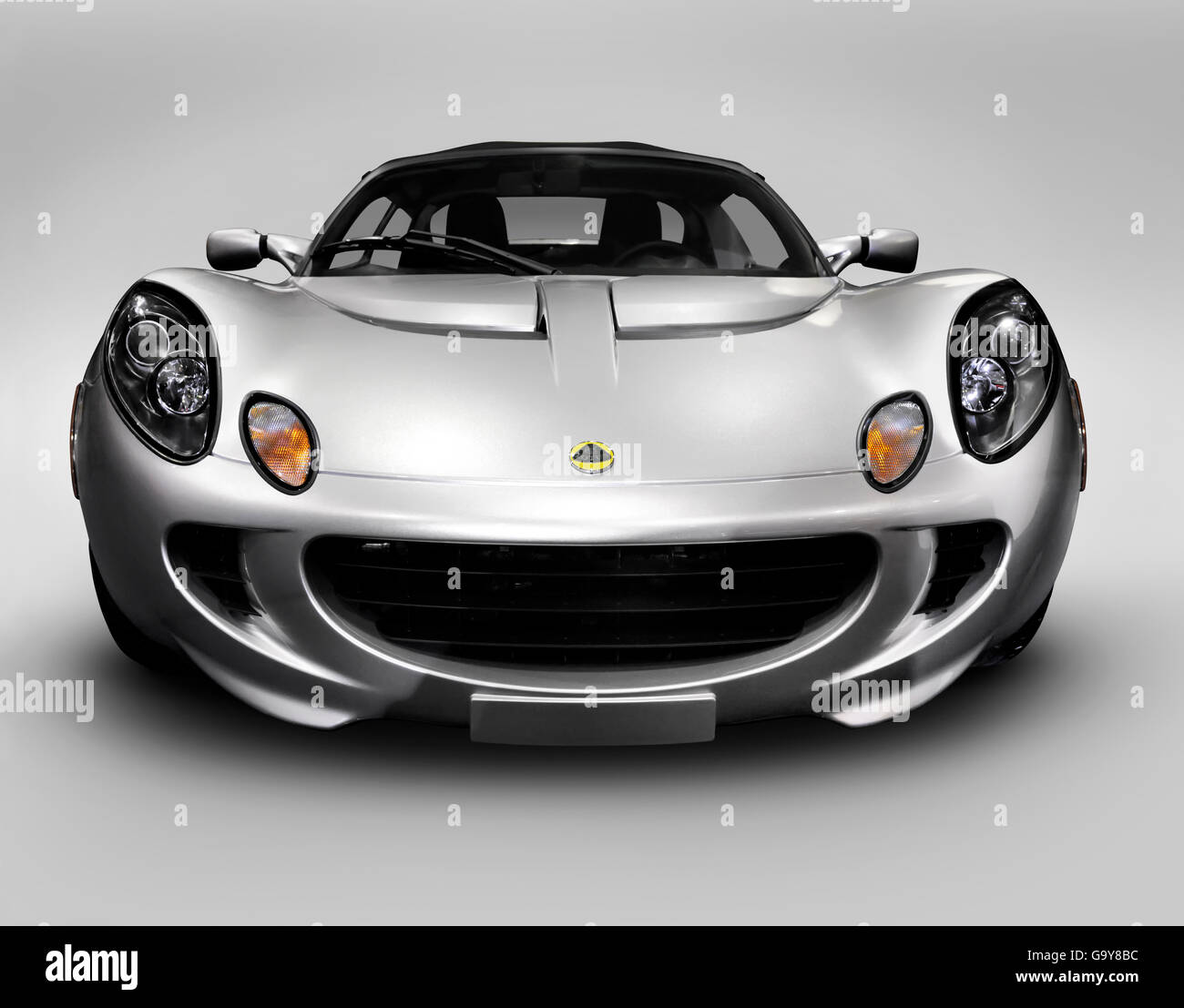 2008 Silver Lotus Elise sports car front view - Stock Image