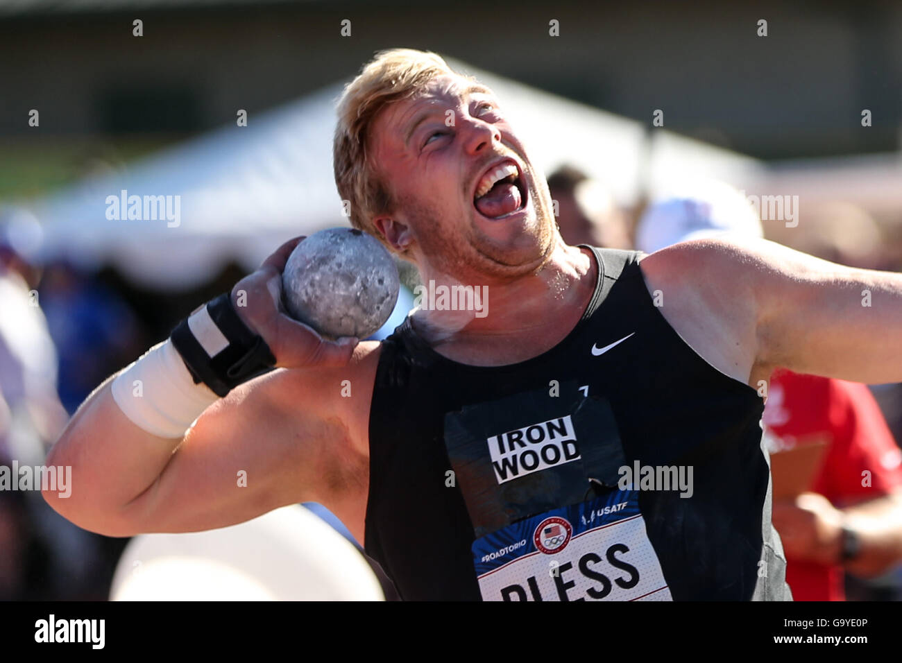 July 1, 2016 - DAVID PLESS throws the shot at the USA Track & Field Olympic Trials at Haward Field in Eugene, - Stock Image