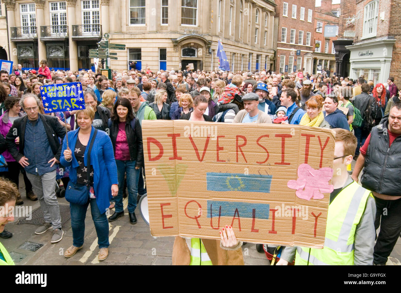 York, UK. 02nd July, 2016. Brexit Protest demonstration in York demonstrators demonstrating eu pro remain leave - Stock Image