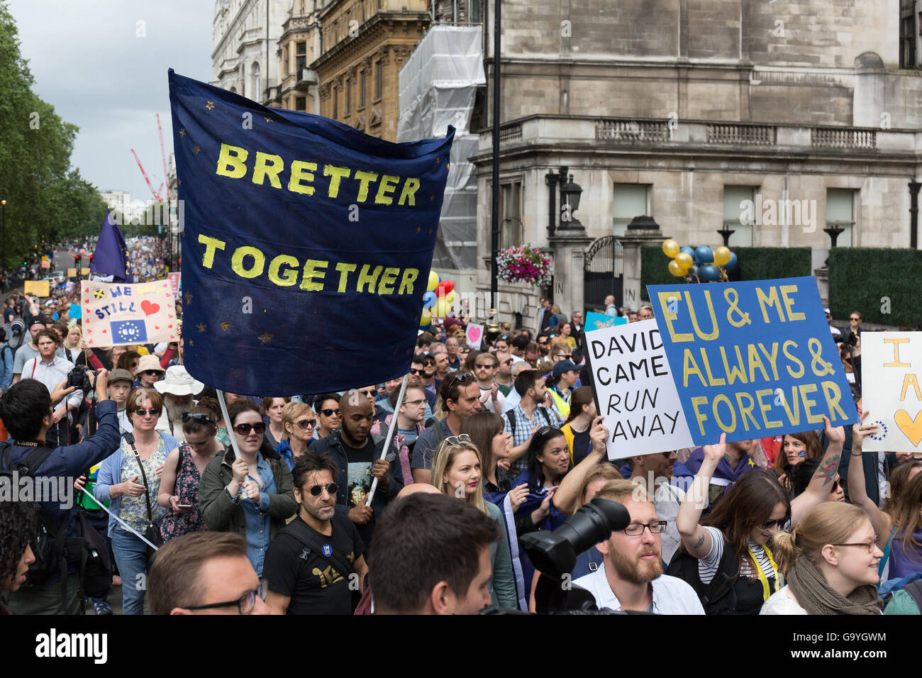 London, UK. 02nd July, 2016. Anti Brexit protest march in London, UK Credit:  London pix/Alamy Live News - Stock Image