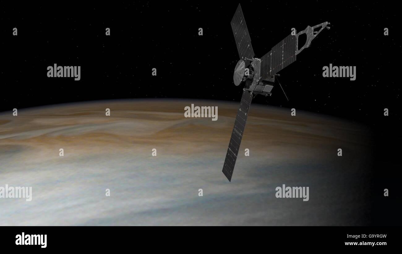 Artists illustration of the NASA Juno space probe orbiting around Jupiter July 4, 2016 in Pasadena, California. - Stock Image