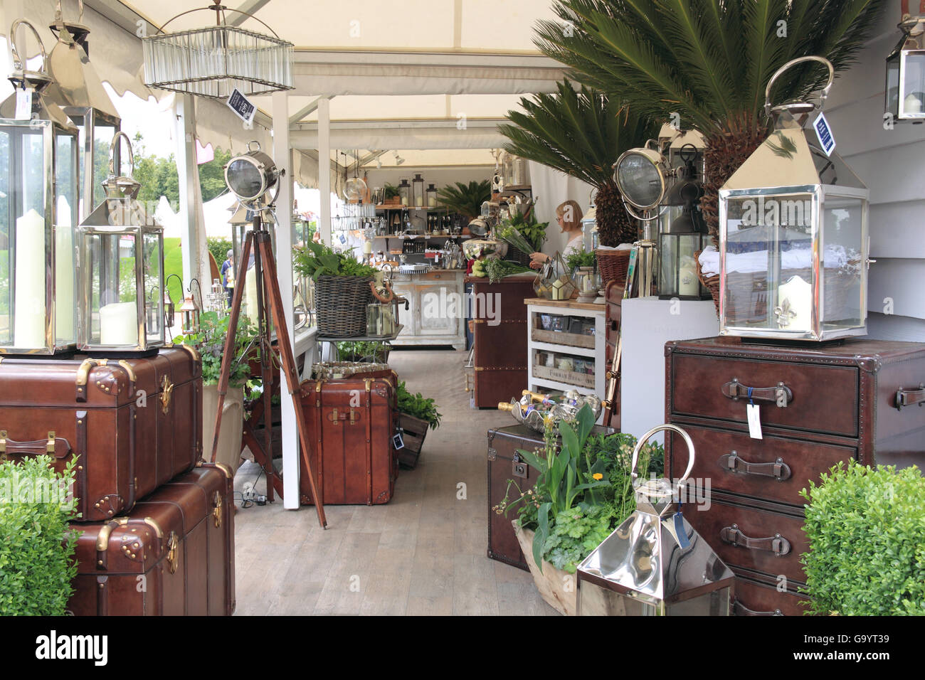 Garden Lantern Co by Culinary Concepts. Trade Exhibitor. RHS Hampton Court Palace Flower Show, London, England, - Stock Image