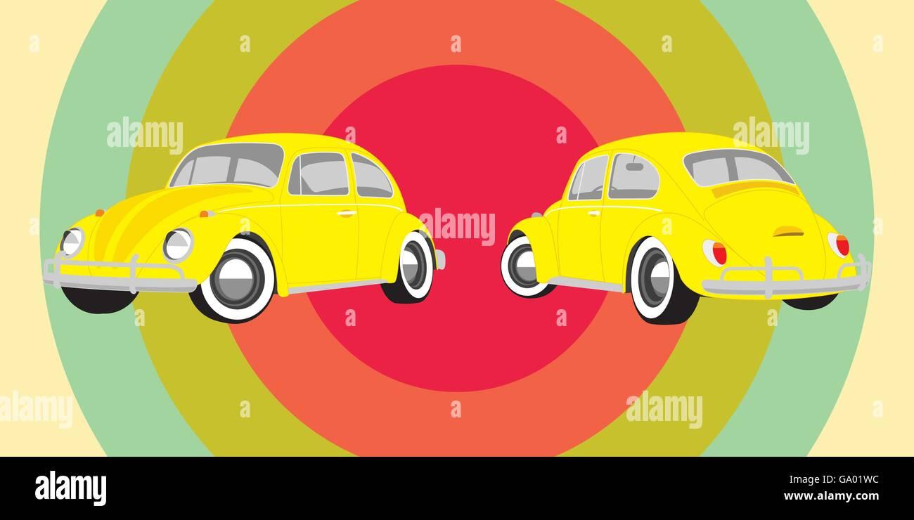 vintage retro vehicle yellow car vector illustration - Stock Image