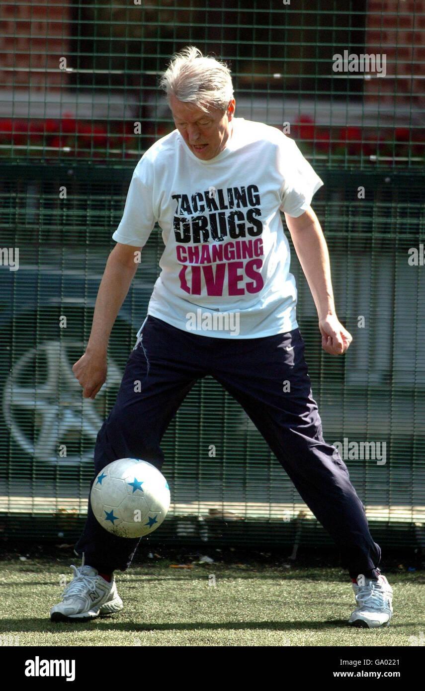 Anti-drugs football match - Stock Image