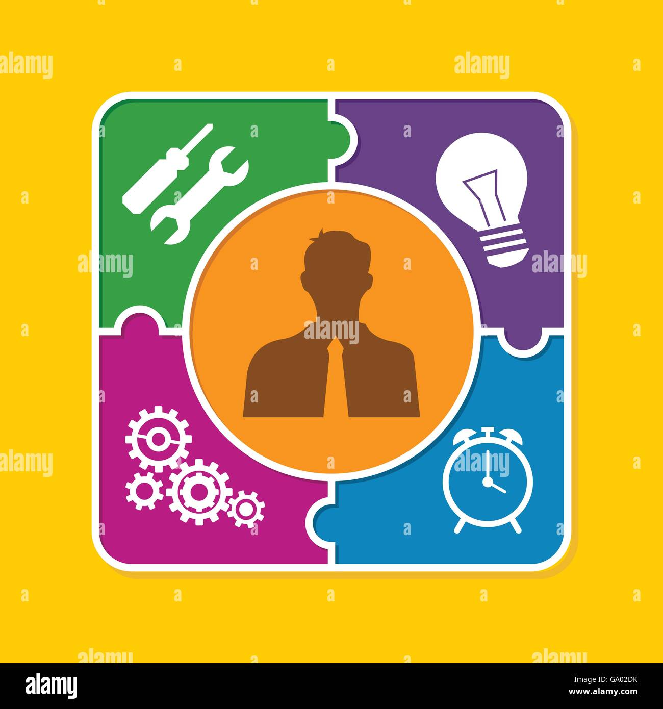 good personality people puzzle style illustration concept - Stock Vector