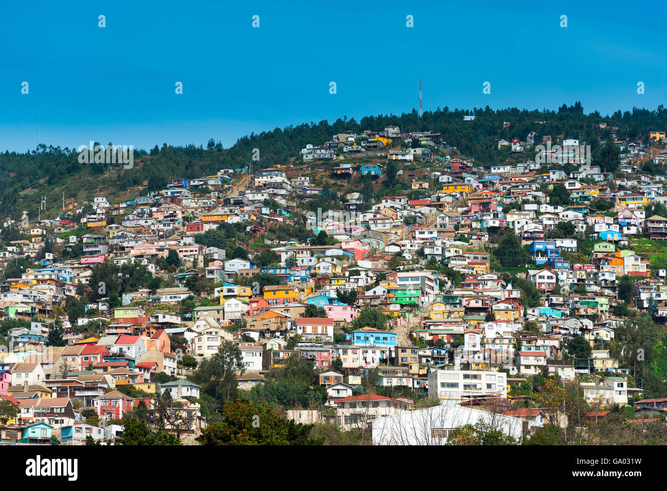 View of houses on Valparaiso hills, Chile - Stock Image