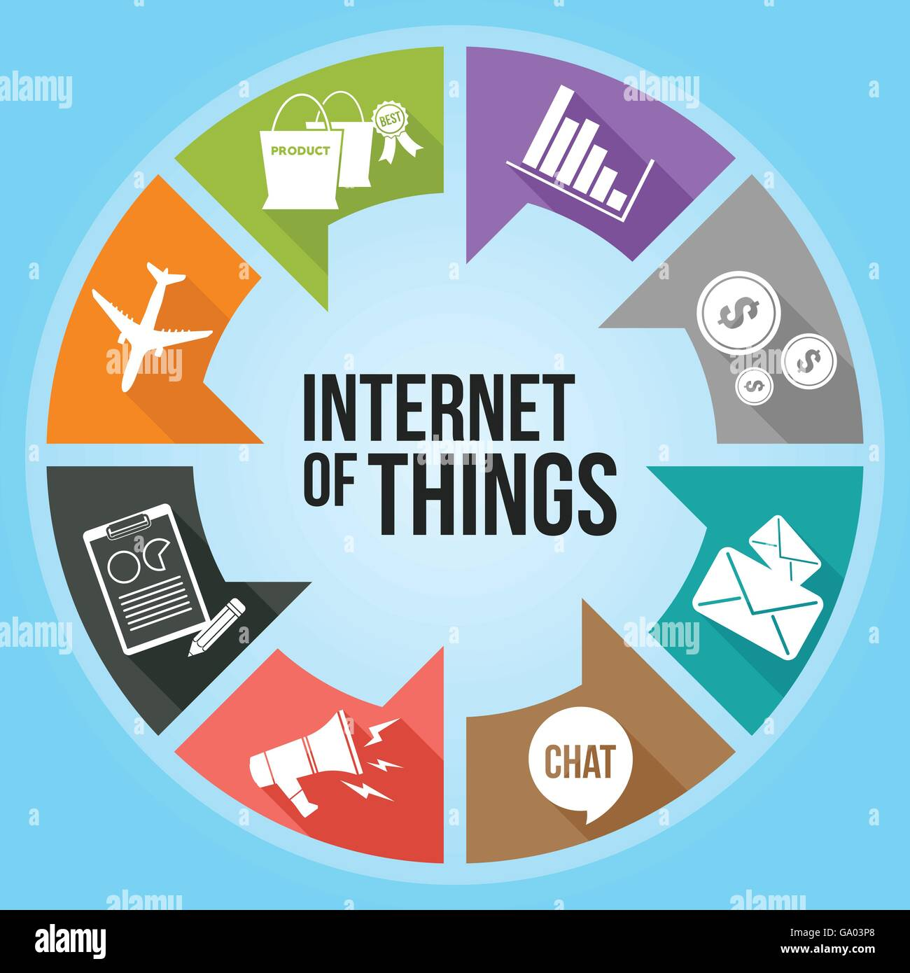 Internet of Things with colorful infographic - Stock Image