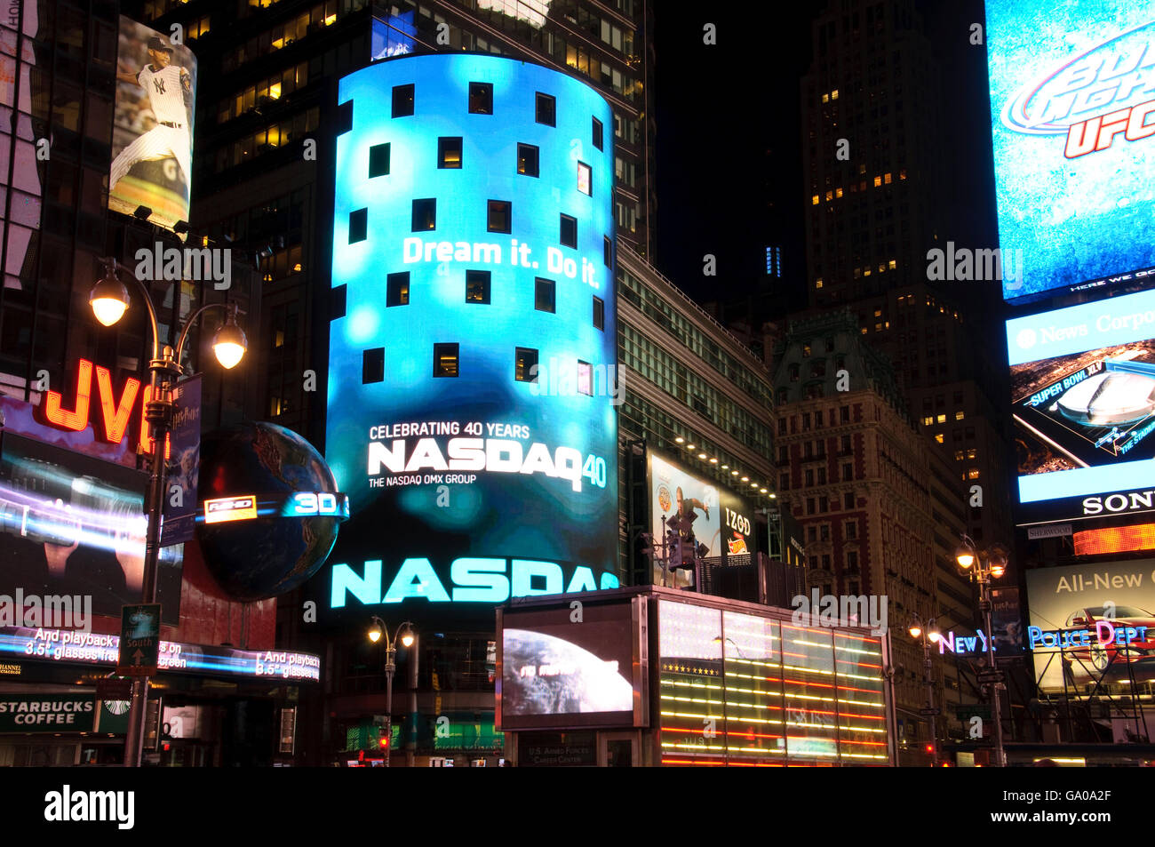 Nasdaq building, Times Square, 42nd Street, New York City, New York, USA - Stock Image