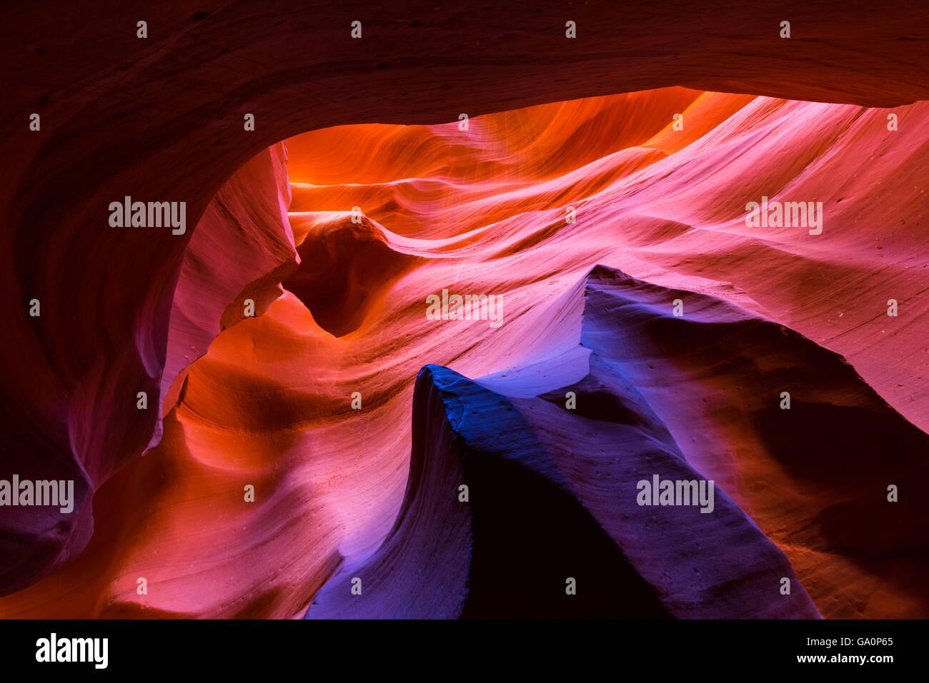 Eroded sandstone patterns on walls of Lower Canyon, Antelope Canyon, Page, Arizona, USA, February 2015. - Stock Image