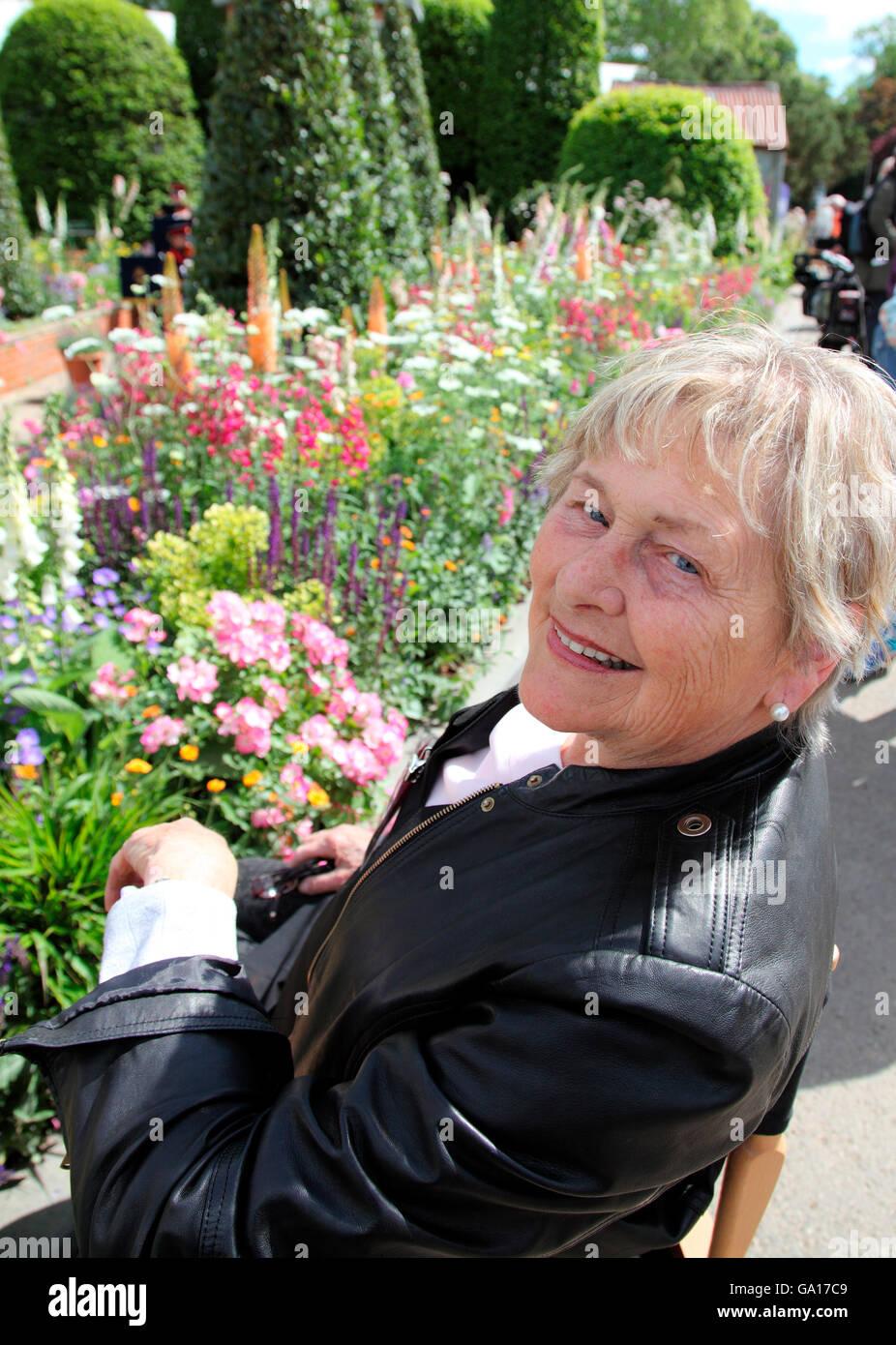 Helen Dillon, Irish garden guru at RHS Chelsea Flower Show 2016 - Stock Image