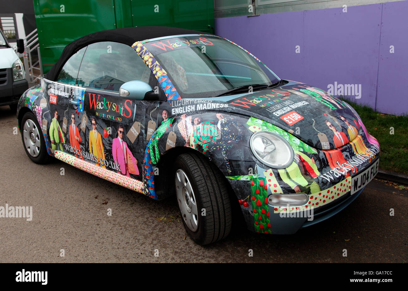 Wacky Suits Volkswagon Beetle at RHS Chelsea Flower Show 2016 - Stock Image