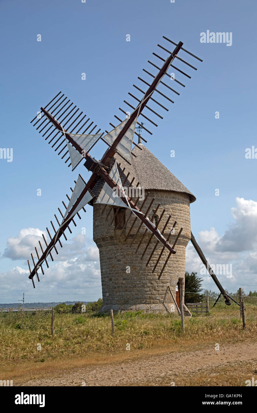 Old working windmill Moulin de la Falaise Batz-sur-Mer France Stock Photo