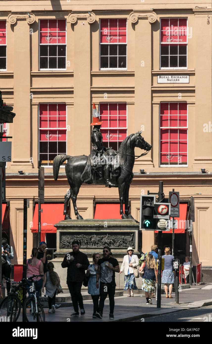 Statue of Duke of Wellington with traffic cone on head, Royal Exchange Square, Glasgow, Scotland, UK, - Stock Image