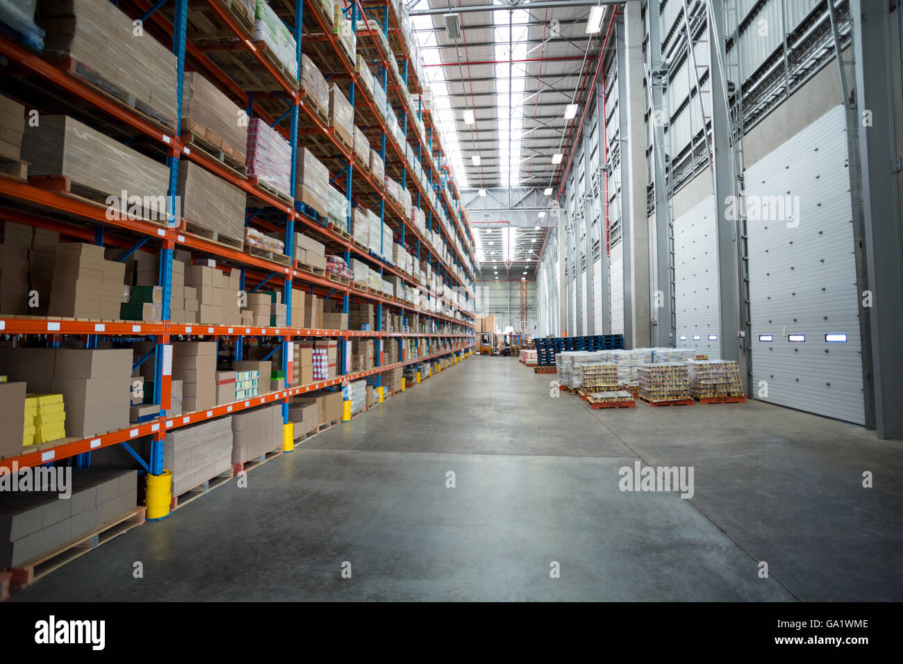 View of goods are tidy on shelves - Stock Image