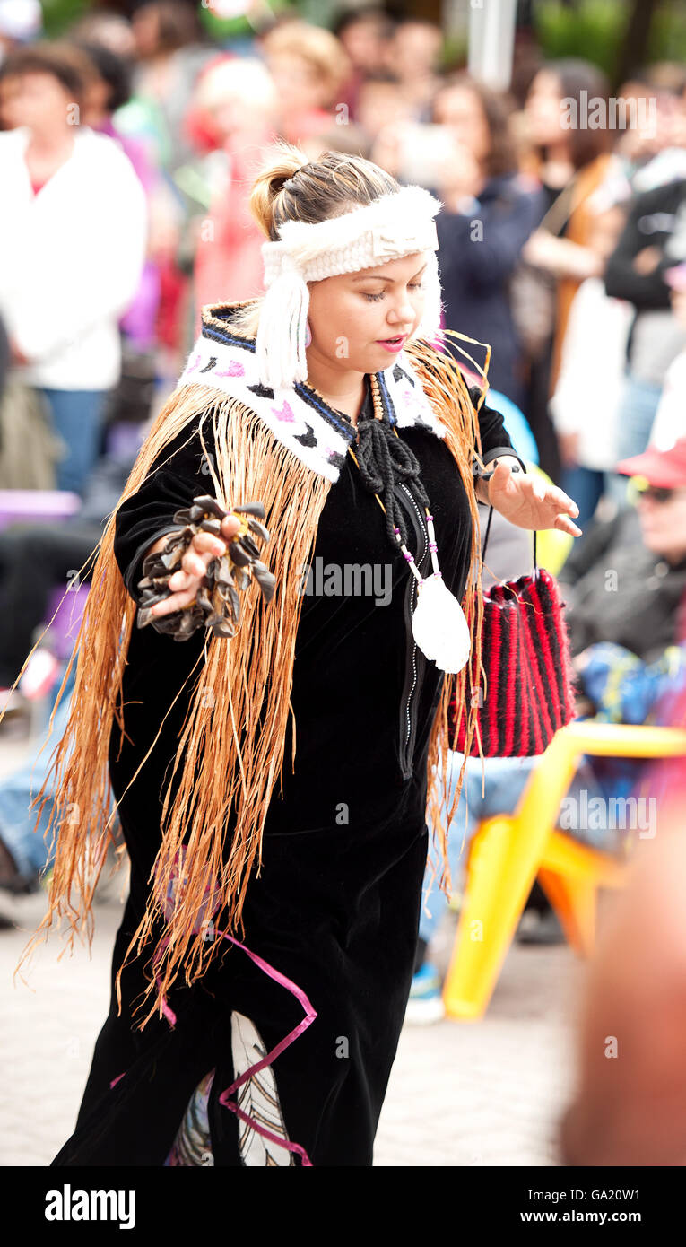 Canadian first nations dancer performing in the Whistler Village on Canada Day.  Whistler BC, Canada - Stock Image