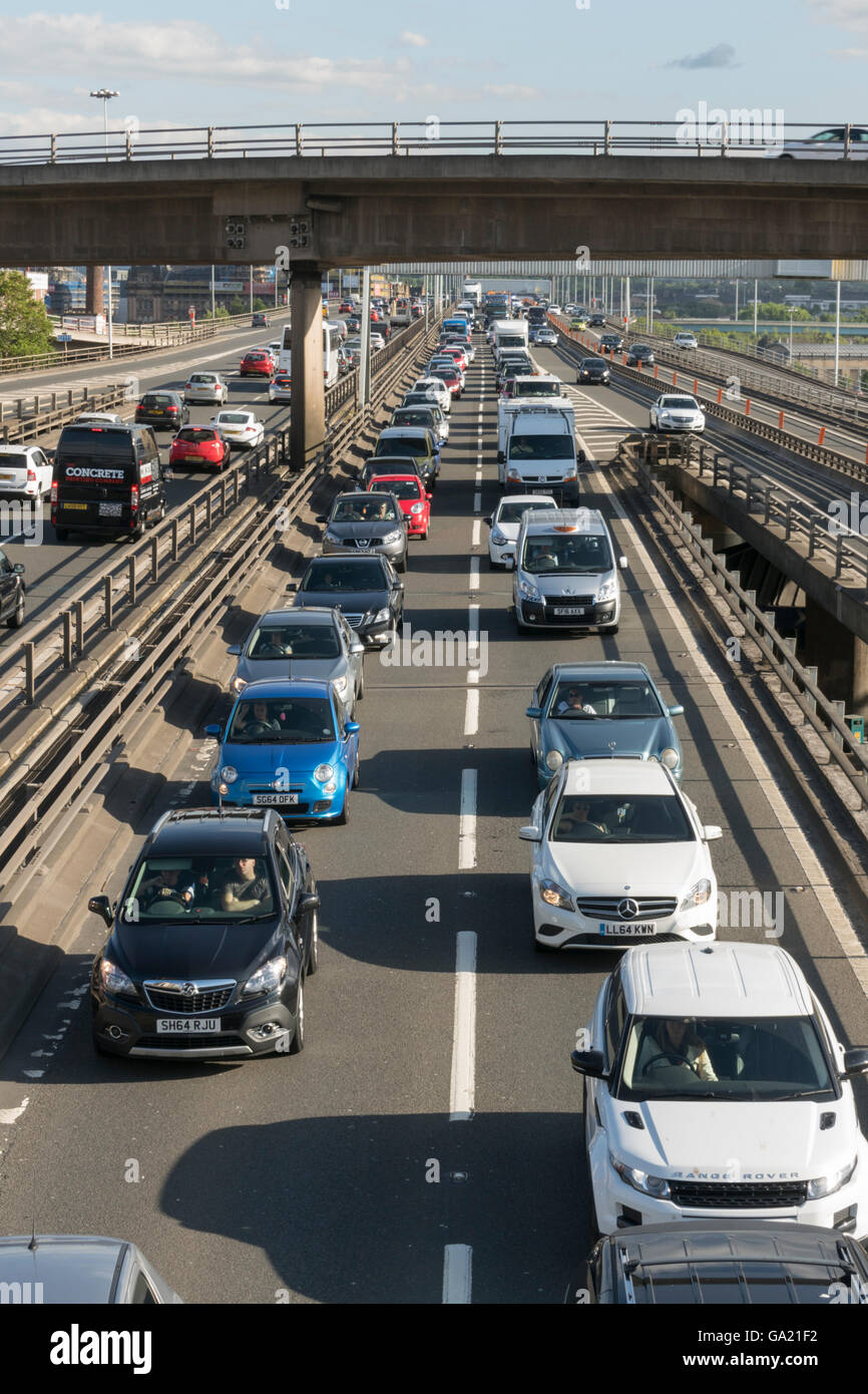 Queueing traffic on M8 motorway, Glasgow, Scotland,UK, Stock Photo