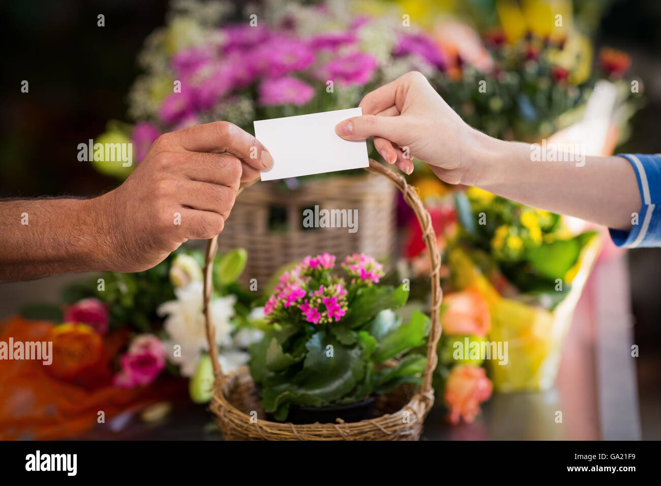 Florist giving visiting card to customer - Stock Image