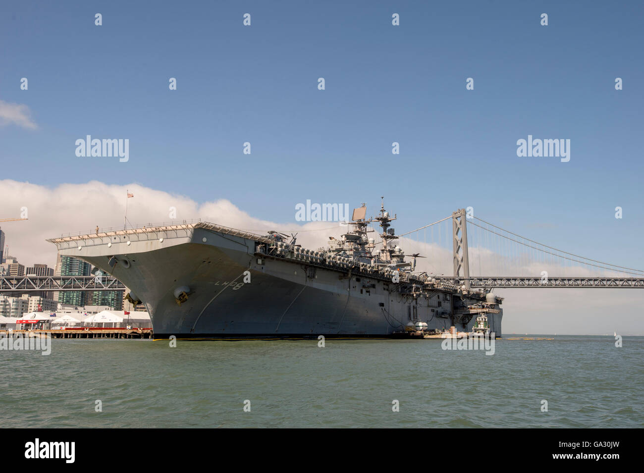 United States Navy's USS Makin Island (LHD-8) Wasp-class amphibious assault ship, San Francisco. Stock Photo